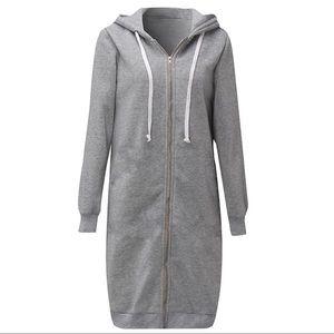 Oak + Fort Grey Long Hoodie Dress